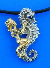 steven douglas seahorse mermaid pendant sterling silver 14k