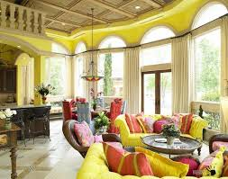 fascinating bright yellow living space interior with big arched windows design and high curtains decoration along bright yellow sofa living