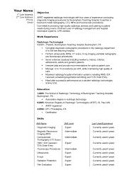 Impressive Radiologic Technologist Resume for Killer Radiology Resume Ct  Technologist Resume Example Sample for