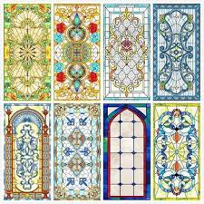 custom size electrostatic frosted stained glass window church home foil door stickers pvc self adhesive window s