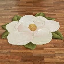carreen magnolia flower shaped rug light cream