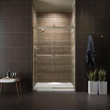 kohler levity 48 in x 74 in semi frameless sliding shower door in