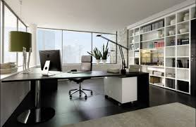 ideas work cool office decorating. Cool Modern Office Decor Ideas With Wide Glass Windowed And Built In Cabinets As Well Large Table Director Chairs On Dark Wood Floors Work Decorating E
