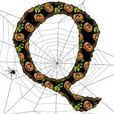 Typography - Halloween Alphabet with Spider - Letter Q