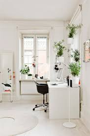 white airy home office. Peaceful Home Office Space With Classic White Desk And Green, Airy Plants - So Serene! T