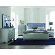 Homelegance Allura 4 Piece Panel Bedroom Set W/ LED Lighting In Silver    1916