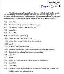 babysitting schedule template daycare schedule template 7 free word pdf format download free