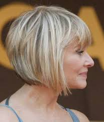 inverted bob style haircut plus bangs for over 60 years women