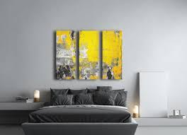black gray and yellow wall art