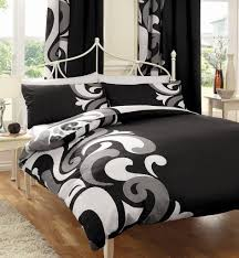 black white grey printed king size duvet cover bed set