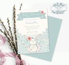 Do It Yourself Baby Shower Invitation Templates Mint Floral Bunny Baby Shower Invitation Template Diy