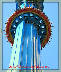 mach tower is a 240 foot tall drop tower at busch gardens riders slowly rise to the top then suddenly their feet fly up while they plummet to the bottom