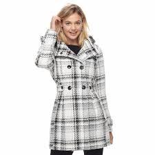 coats jackets juniors iz byer double ted hooded coat white black 65294238