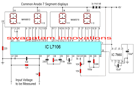 make this simple digital voltmeter circuit using ic l7107 this will set up the circuit for displaying the measured magnitudes accurately as per the given specs and datasheet of the ic
