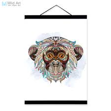 modern ancient african national animals monkey face totem a4 big framed canvas painting wall art print