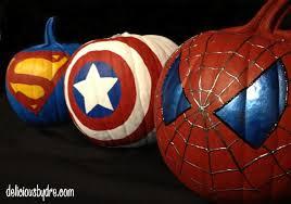 superhero painted pumpkins