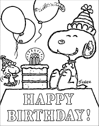 Snoopy Happy Birthday Quote Coloring Page