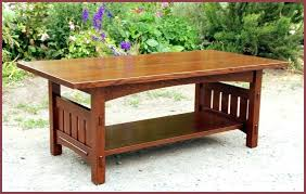 coffee table with arched a overhanging top slatted sides extra large square oak