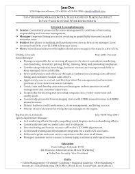 Retail Supervisor Job Retail Manager Sample Resume Superb Sample