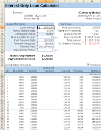 interest only amortization schedule screenshot