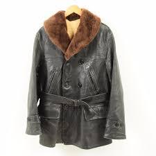 40s the lakeland genuine leather leather horsehide leather car coat men l vintage war1738