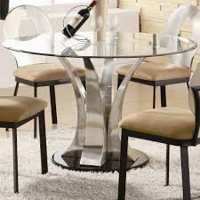 dining room table plans shiny: dining room furniture round glass dining table top with curvy silver chrome base plus black wooden chairs with cream seat on white fur rug great diy glass