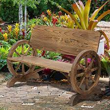 outsunny rustic wood garden wagon wheel