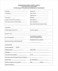 Loan Application Form Credit Union Loan Application Form Generic Free Business Printable
