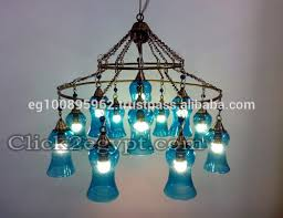turquoise light fixture two tiers mouth blown rings turquoise glass ceiling light fixture