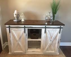 rustic sliding barn door console buffet by theblessedfarmhouse