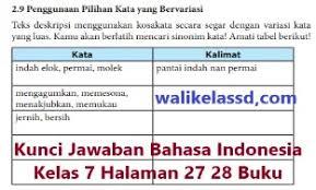 Soal uas bahasa indonesia kelas 7 smp/mts. Kunci Jawaban Bahasa Indonesia Kelas 7 Halaman 27 28 Wali Kelas Sd