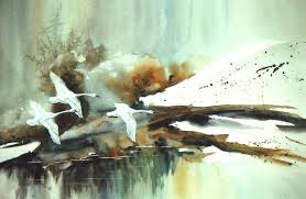 swans in flight painting by lynne parker