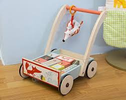 labebe baby walker with wheel blue fox printed wooden push toy 3 in 1