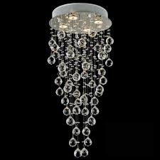 picture of 30 raindrops modern foyer crystal round chandelier mirror stainless steel base 4 lights