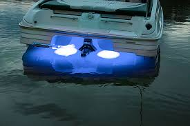 led underwater boat lights and dock lights triple lens 180w installed on boat