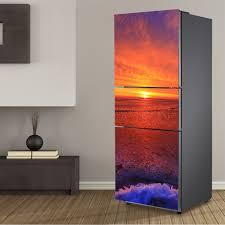 refrigerator vinyl wrap. aliexpress.com : buy yazi sunset pvc self adhesive fridge wrap hd printed refrigerator door sticker wallpaper peel stick 60x150cm 60x180cm from reliable vinyl