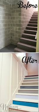 painted basement stairs. Before And After Of Basement Stairs Painted With Multicolored Paint. Basement R