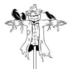 scarecrow clip art black and white. Contemporary Art Scarecrow Coloring Book Vector Illustration Illustration With Clip Art Black And White