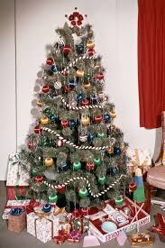 vintage christmas tree with tinsel