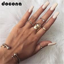 <b>docona Bohemian Gold Color</b> Crystal Geometric Knuckle Midi Rings ...