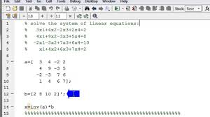 solve a system of linear equations in matlab using matrix inverse method you