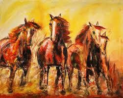 contemporary abstract horse painting the run colorado artist
