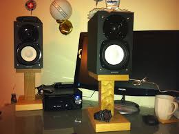 oak desktop speaker stands