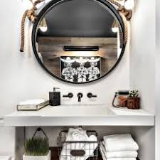 black framed bathroom mirrors. Eclectic Bathroom Vanity With Black Frame Round Mirror Framed Mirrors
