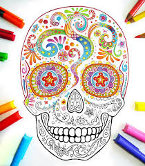 Small Picture Sugar Skull Coloring Pages 21 Printable PDF Blank Sugar