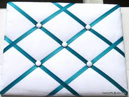 White French Memo Board Amazing Turquoise Ribbon And White Memory Board French Memo Board Etsy