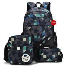 Kalakk <b>3Pcs USB Male Backpack</b> Bag <b>Set</b> Red And Blue High ...