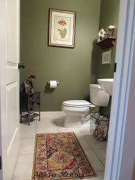 Green Wall Paint Color Decorating In Modern Small Powder Room With Toilet  Also Paper Holder Also ...