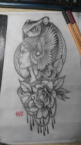 сделать татуировку девушка с совой на плечо 12x25 см в городе