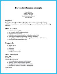 Sample Bartending Resumes Resume Work Template